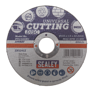 Sealey PTC/115MC Multipurpose Cutting Disc Ø115 x 1.6mm 22.2mm Bore